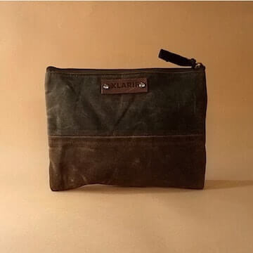 klarif waxed canvas travel toiletry bag, unisex
